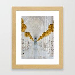 Down the golden white Framed Art Print