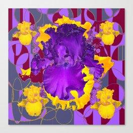 Amethyst Purple Iris Geometric lilac & Grey Patterns Canvas Print