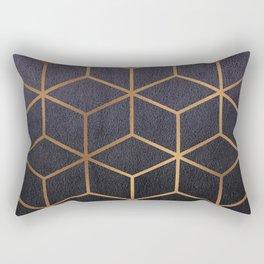 Dark Purple and Gold - Geometric Textured Gradient Cube Design Rectangular Pillow