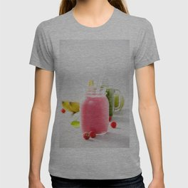 Close-up of pink fresh smoothie with fruits and berries selective focus. T-shirt