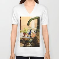 wine V-neck T-shirts featuring Wine Cooler  by Phil Smyth