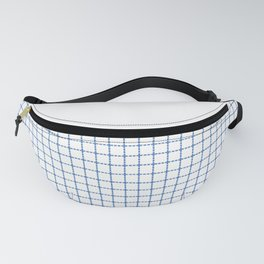 Dotted Grid Boarder Blue on White Fanny Pack