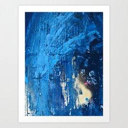 Vortex [2]: a vibrant abstract mixed-media piece in blue and gold by Alyssa Hamilton Art Art Print