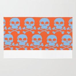 Skull Crazy- Lt Blue on Orange Rug