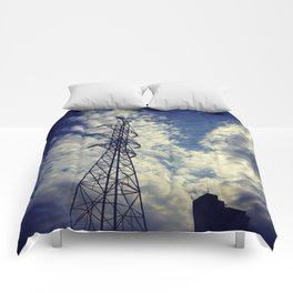 Heavenly spring sky in an industrial world Comforters