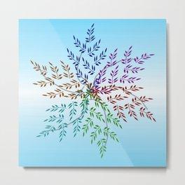 Leafy Rainbow Mandala Metal Print