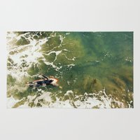 surfer Area & Throw Rugs featuring Surfer  by Ed Pulella