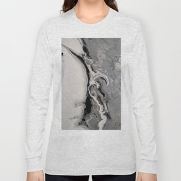 Silver Streak - Fluid Acrylic Abstract Flow Painting Long Sleeve T-shirt
