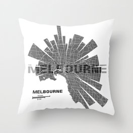 Melbourne Map Throw Pillow