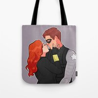 soviet Tote Bags featuring Fave Soviet Murder Couple by Kelslk