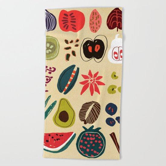 Fruit and Spice Rack Beach Towel