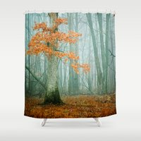 autumn Shower Curtains featuring Autumn Woods by Olivia Joy StClaire