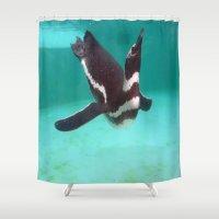 swim Shower Curtains featuring Penguin Swim by Sammycrafts
