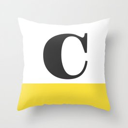 Monogram Letter C-Pantone-Buttercup Throw Pillow