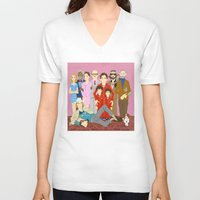 the royal tenenbaums V-neck T-shirts featuring Royal Tenenbaums Family Portrait  by AnaMF