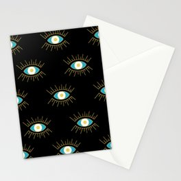 Teal Evil Eye on Black Small Pattern Stationery Cards