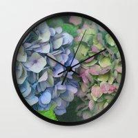 hydrangea Wall Clocks featuring hydrangea by EnglishRose23
