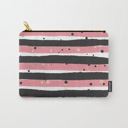 Modern pink black white watercolor splatters stripes Carry-All Pouch