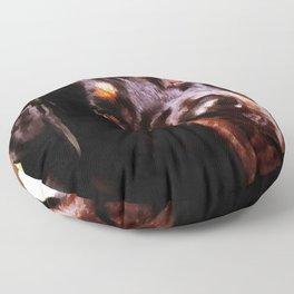 Rottweiler Dog Artistic Pet Portait Floor Pillow