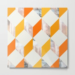 ORANGE ZIG ZAG  Metal Print