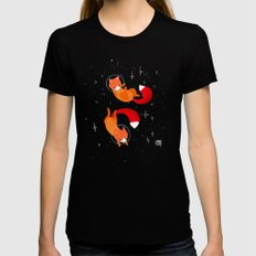 Space Foxes Womens Fitted Tee SMALL Black