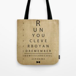 Run You Clever Boy - Doctor Who Inspired Vintage Eye Chart Tote Bag