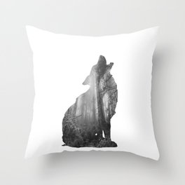 Wolf Silhouette | Forest Photography | Black and White Throw Pillow