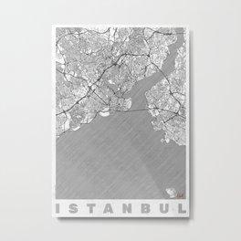 Istanbul Map Line Metal Print