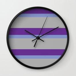 Strips - purple, blue, gray. Wall Clock