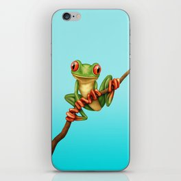 Cute Green Tree Frog on a Branch iPhone Skin