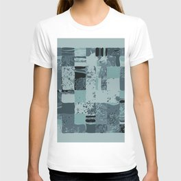 Modern Linear Ocean Sky Blue Squares Fusion Tailored Opulant Architectural Elegant Custom T-shirt