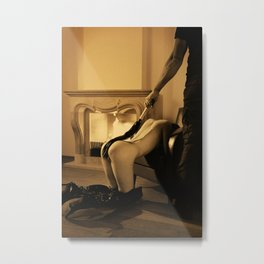 Whipped Vintage - Man is whipping a beautiful naked woman Metal Print