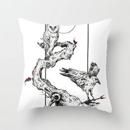 Three Birds Throw Pillow