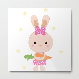 Kids cute cartoon bunny Metal Print