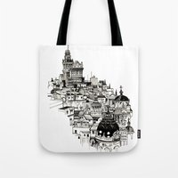 madrid Tote Bags featuring Madrid by Justine Lecouffe