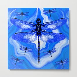 DRAGONFLY BLUE AGATE Metal Print
