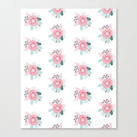 Florals boho modern watercolor blooming blossom garden nature summer spring navy pink white Canvas Print