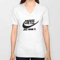 coffee V-neck T-shirts featuring Coffee by Hand Drawn Type