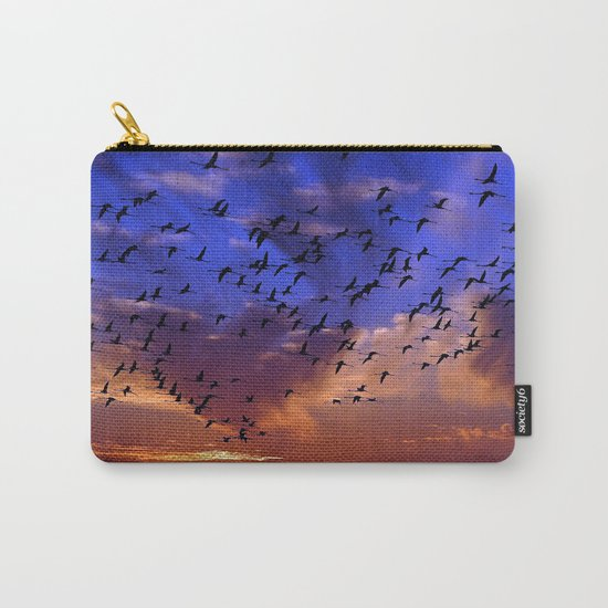 Flight of flamingos at sunset Carry-All Pouch