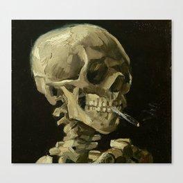 Skeleton with Burning Cigarette Canvas Print