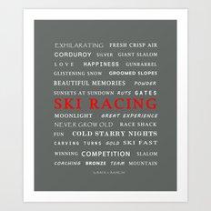 Ski Racing Grey Art Print