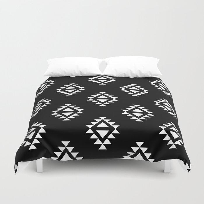 Linocut southwest minimal pattern black and white print scandinavian minimalism Duvet Cover