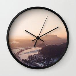 Sunrise in Saxon Switzerland Wall Clock