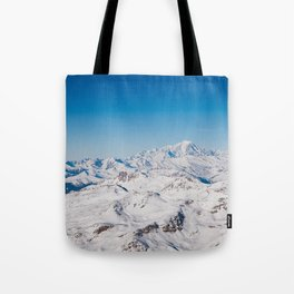 The view of Mont Blanc, Val Thorens, France. Tote Bag
