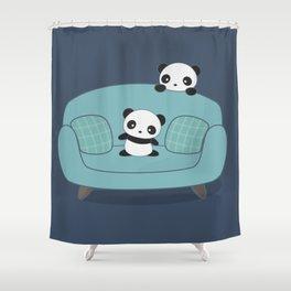 Kawaii Cute Pandas Shower Curtain