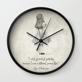 I can't go back to yesterday Quote Wall Clock