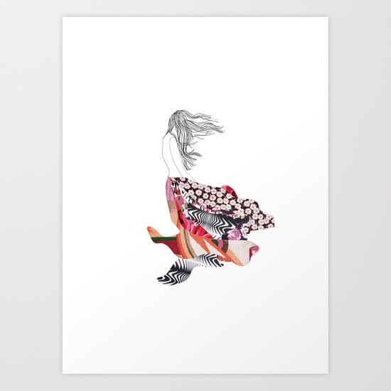 Girl in the wind Art Print
