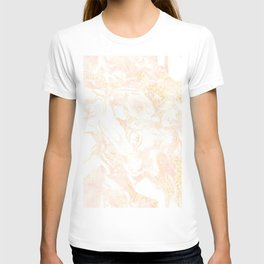 White Marble Pastel Pink and Gold by Nature Magick T-shirt