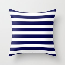 Navy Blue & White Stripes- Mix & Match with Simplicity of Life Throw Pillow