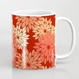 Modern Floral Kimono Print, Mandarin Orange Coffee Mug